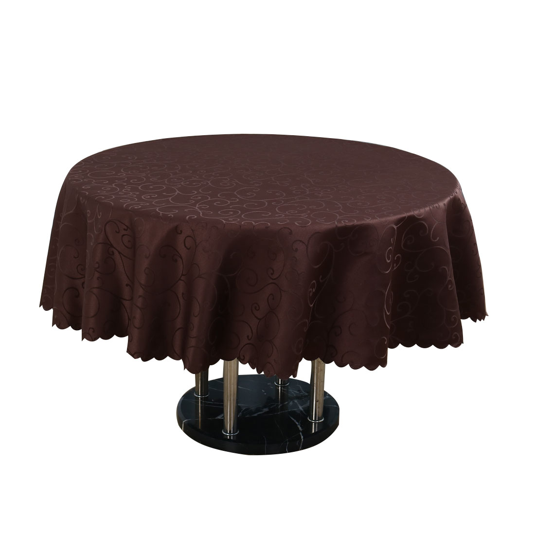 "Hotel Restaurant Polyester Round Flower Pattern Tablecloth Table Cloth Cover Coffee Color 1.8M 71"" Diameter"