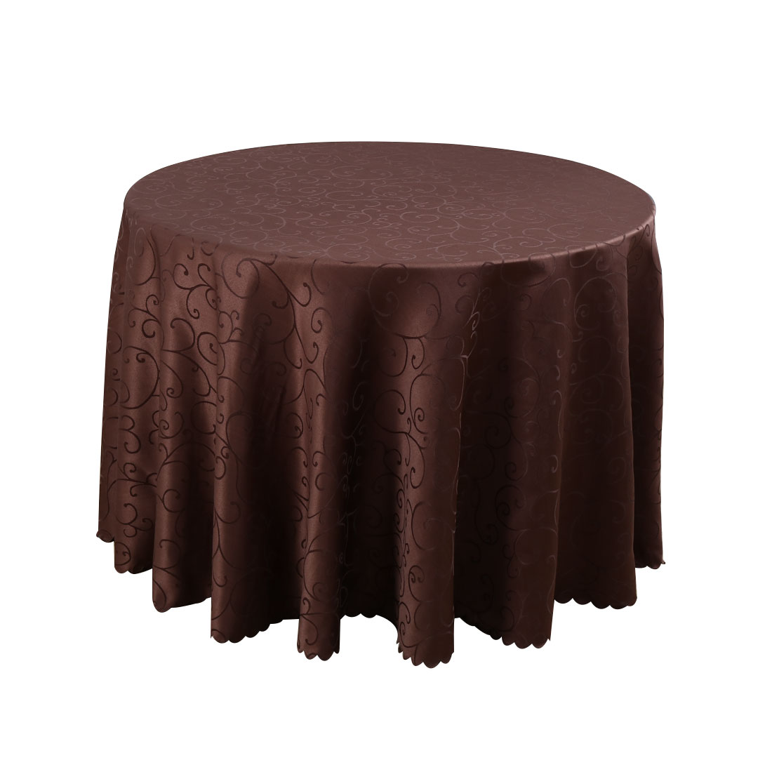 Hotel Restaurant Polyester Round Flower Pattern Tablecloth Table Cloth Cover Coffee Color 2.4M Diameter