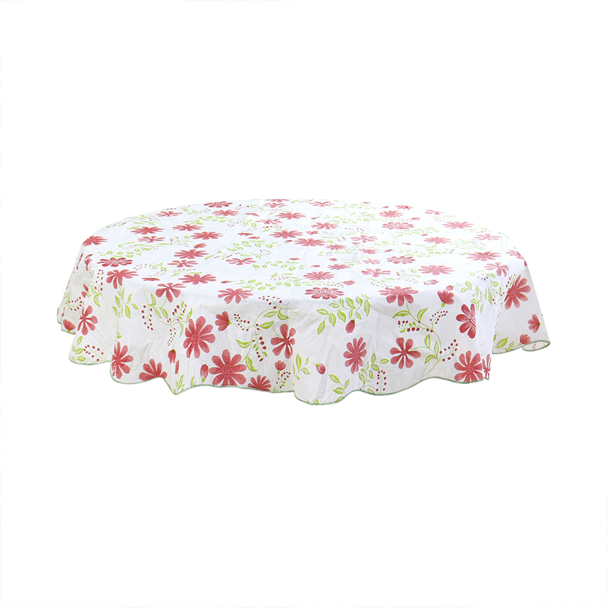 Home Picnic Round Nine-petals Flower Pattern Water Resistant Oil-proof Tablecloth Table Cloth Cover Red 60 Inch