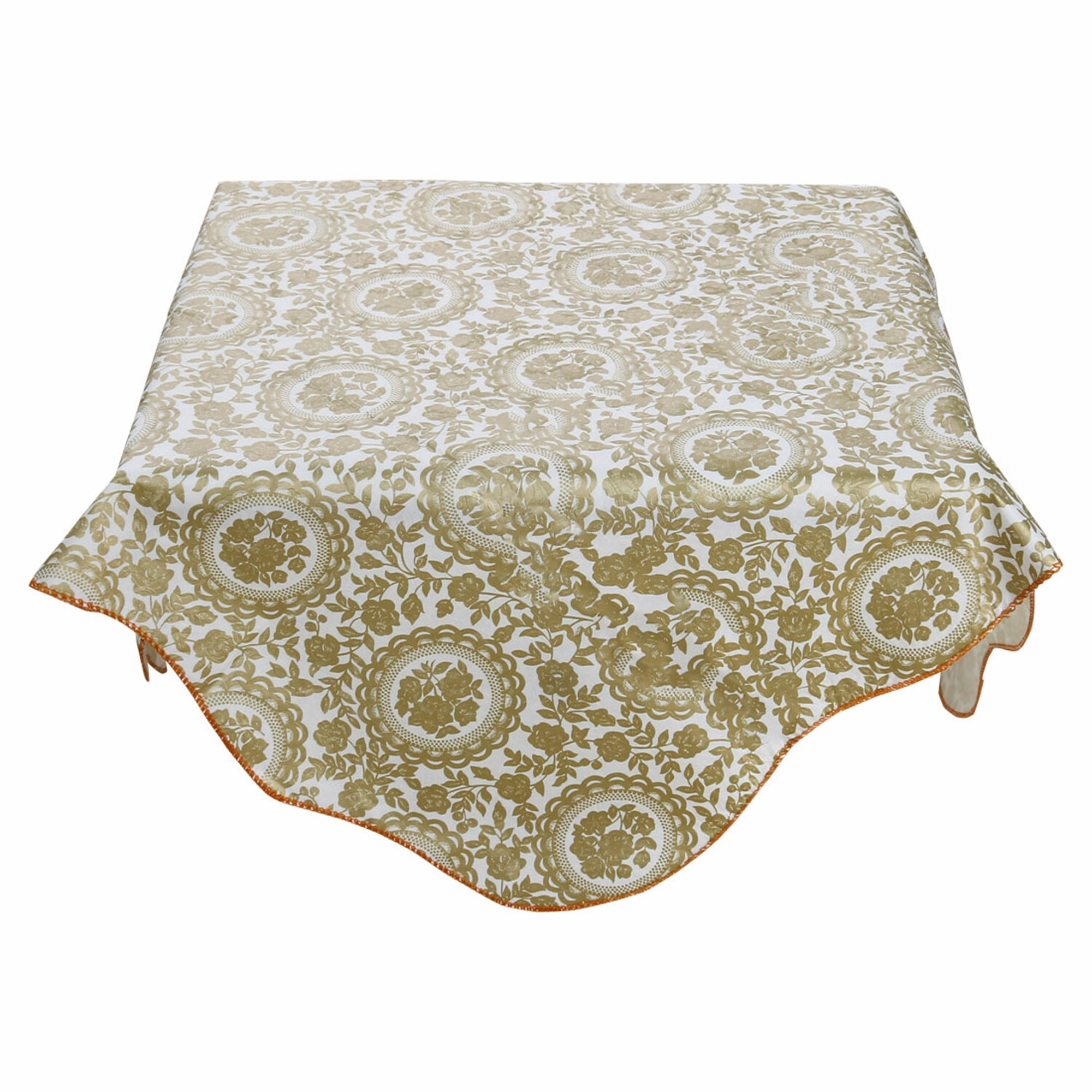 Home Picnic Square Turntable Flower Pattern Water Resistant Oil-proof Tablecloth Table Cloth Cover Gold Tone 35 x 35 Inch
