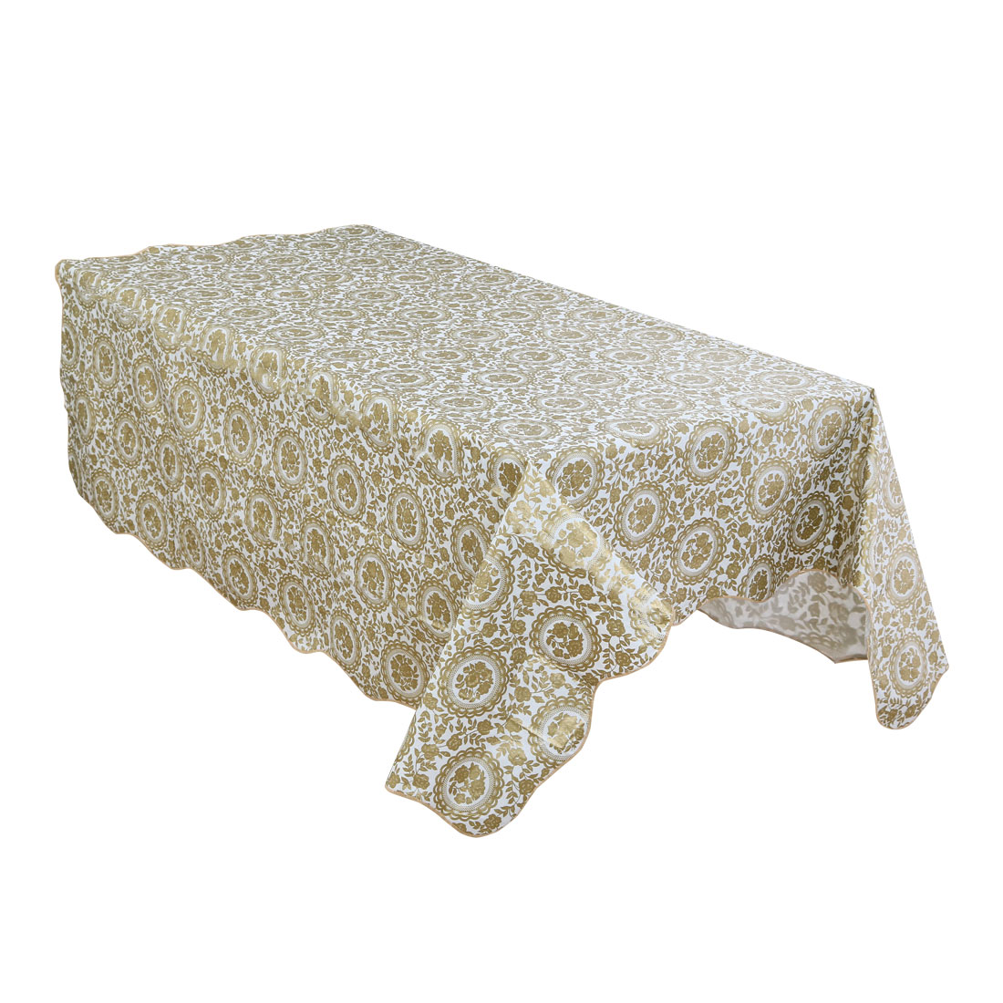 Home Picnic Turntable Flower Pattern Water Resistant Oil-proof Tablecloth Table Cloth Cover Gold Tone 71 x 54 Inch