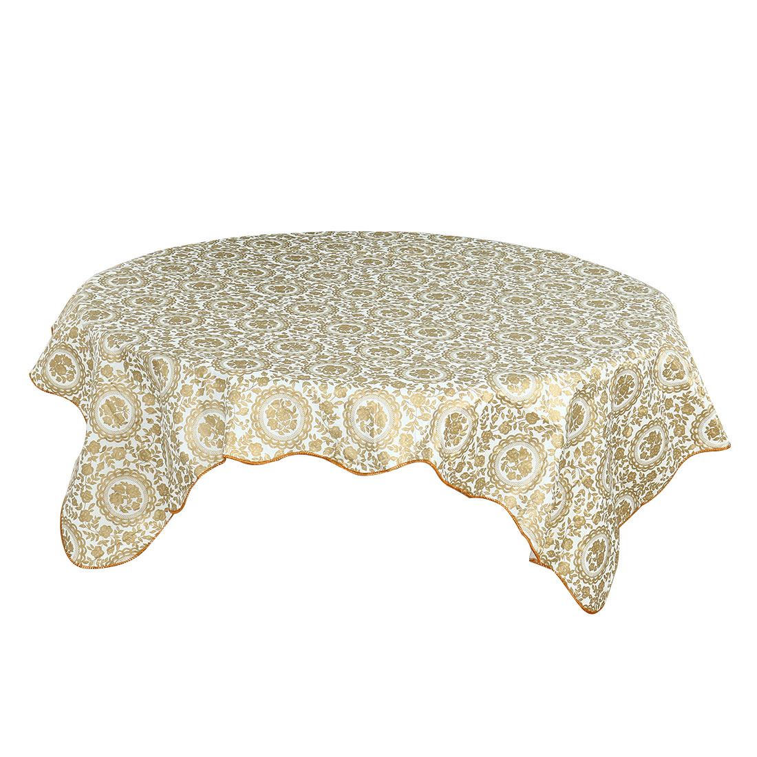 Home Turntable Flower Pattern Round Water Resistant Tablecloth Table Protector Cloth Cover Gold Tone