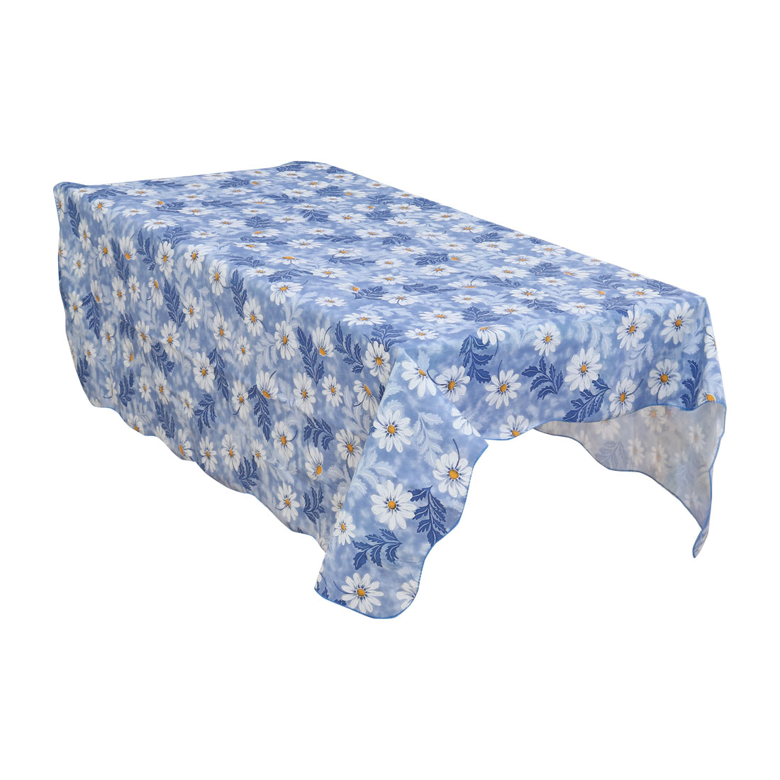 Home Picnic Daisy Pattern Water Resistant Oil-proof Tablecloth Table Cloth Cover Blue 41 x 60 Inch