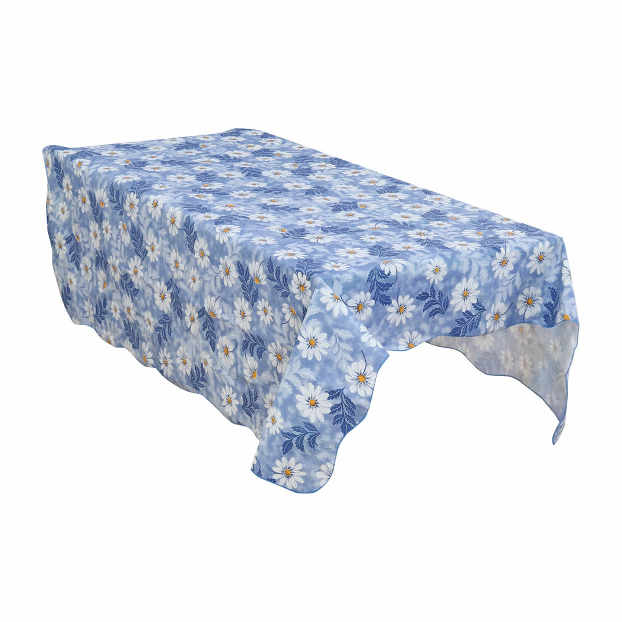 Home Picnic Daisy Pattern Water Resistant Oil-proof Tablecloth Table Cloth Cover Blue 71 x 54 Inch