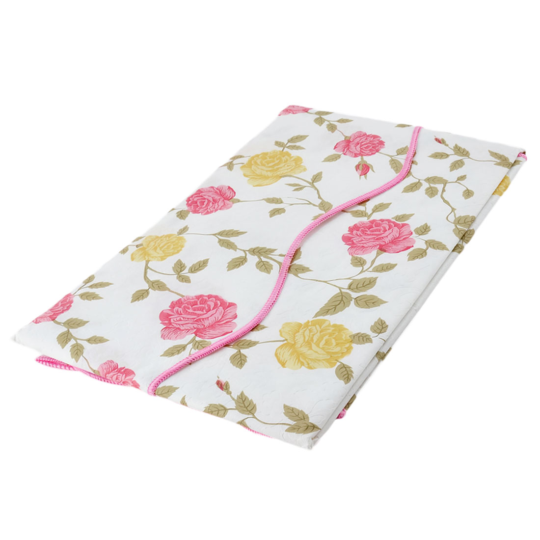 Home Picnic Square Bi-color Rose Pattern Water Resistant Oil-proof Tablecloth Table Cloth Cover 35 x 35 Inch