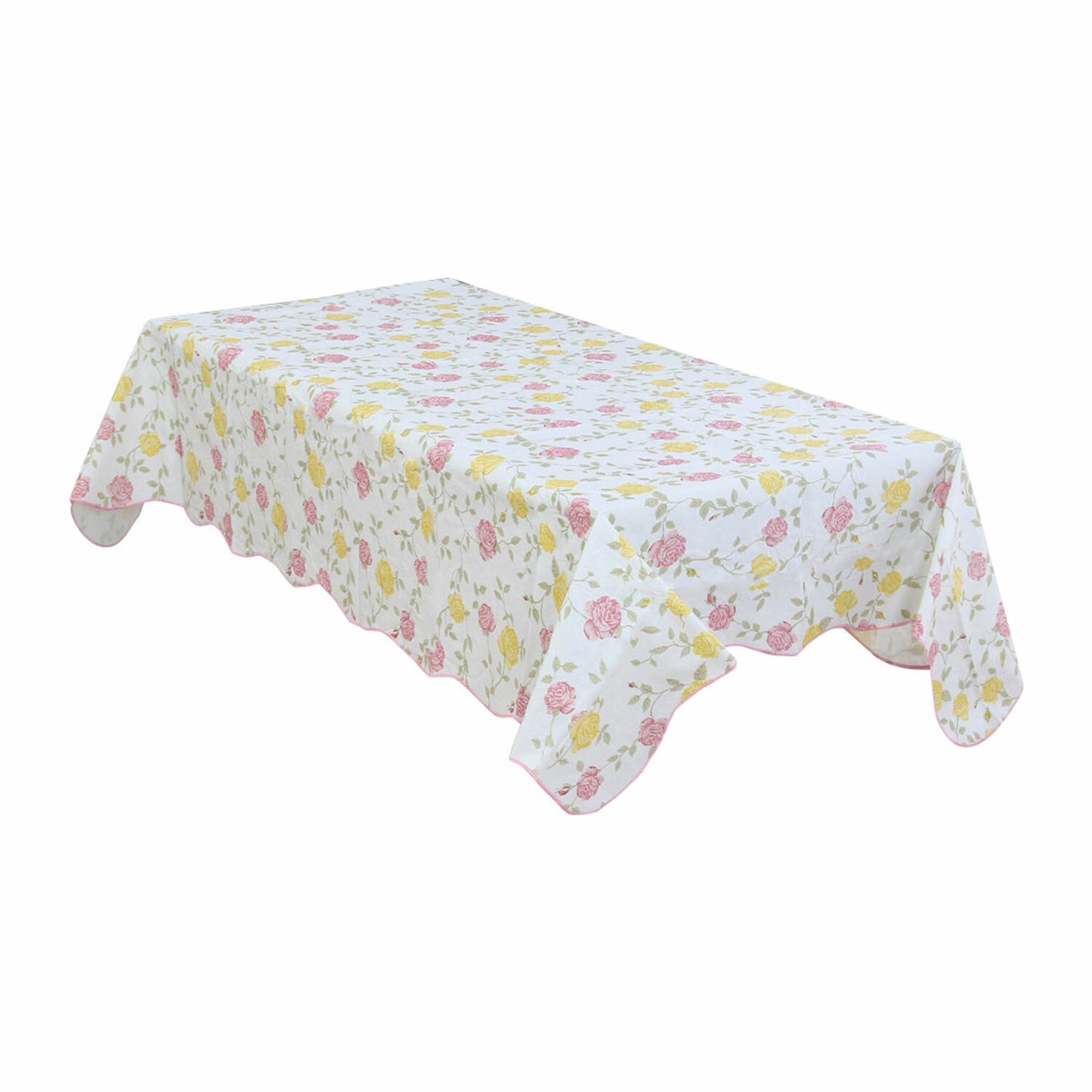 Home Picnic Bi-color Rose Pattern Water Resistant Oil-proof Tablecloth Table Cloth Cover 41 x 60 Inch