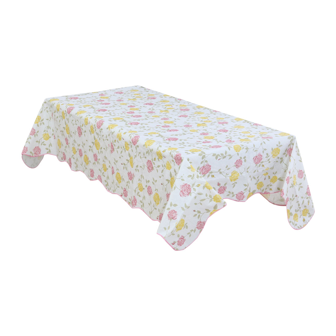 Home Picnic Bi-color Rose Pattern Water Resistant Oil-proof Tablecloth Table Cloth Cover 72 x 54 Inch