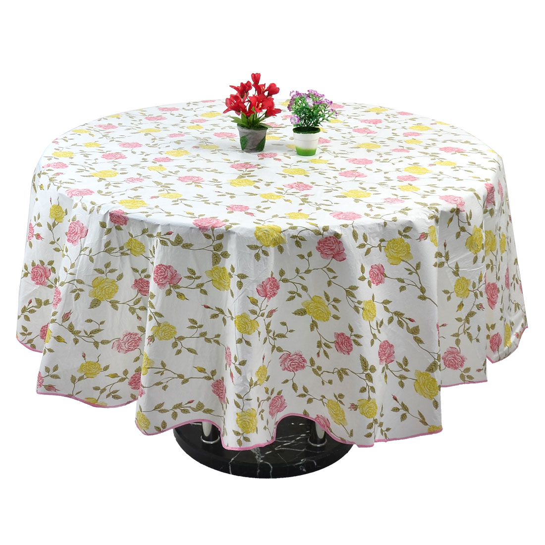 Home Bi-color Rose Pattern Round Water Resistant Tablecloth Table Cloth Cover