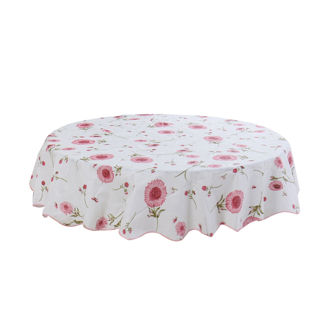 Home Picnic Round Sunflower Pattern Water Resistant Oil-proof Tablecloth Table Cloth Cover Pink 60 Inch