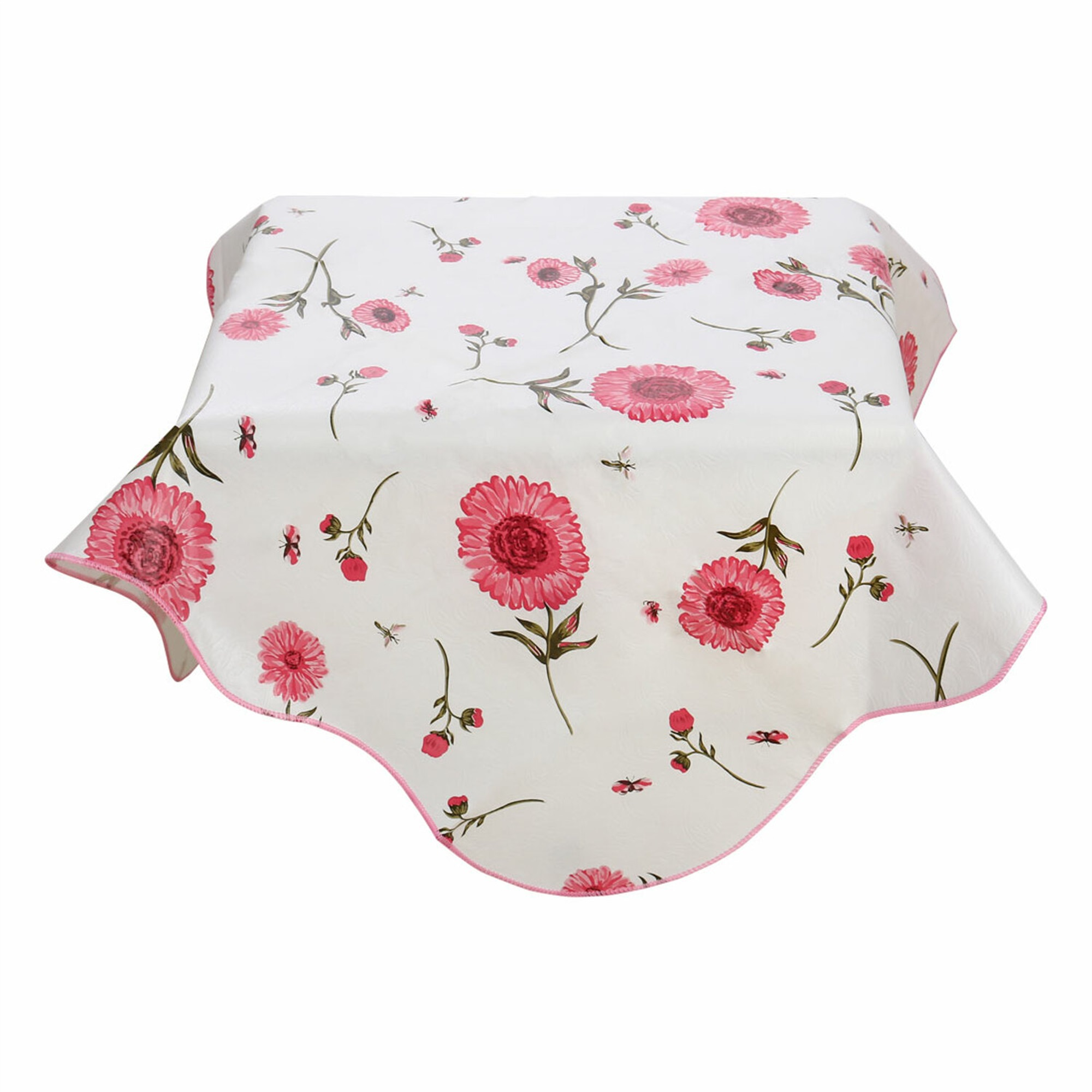 Home Picnic Square Sunflower Pattern Water Resistant Oil-proof Tablecloth Table Cloth Cover Pink 35 x 35 Inch