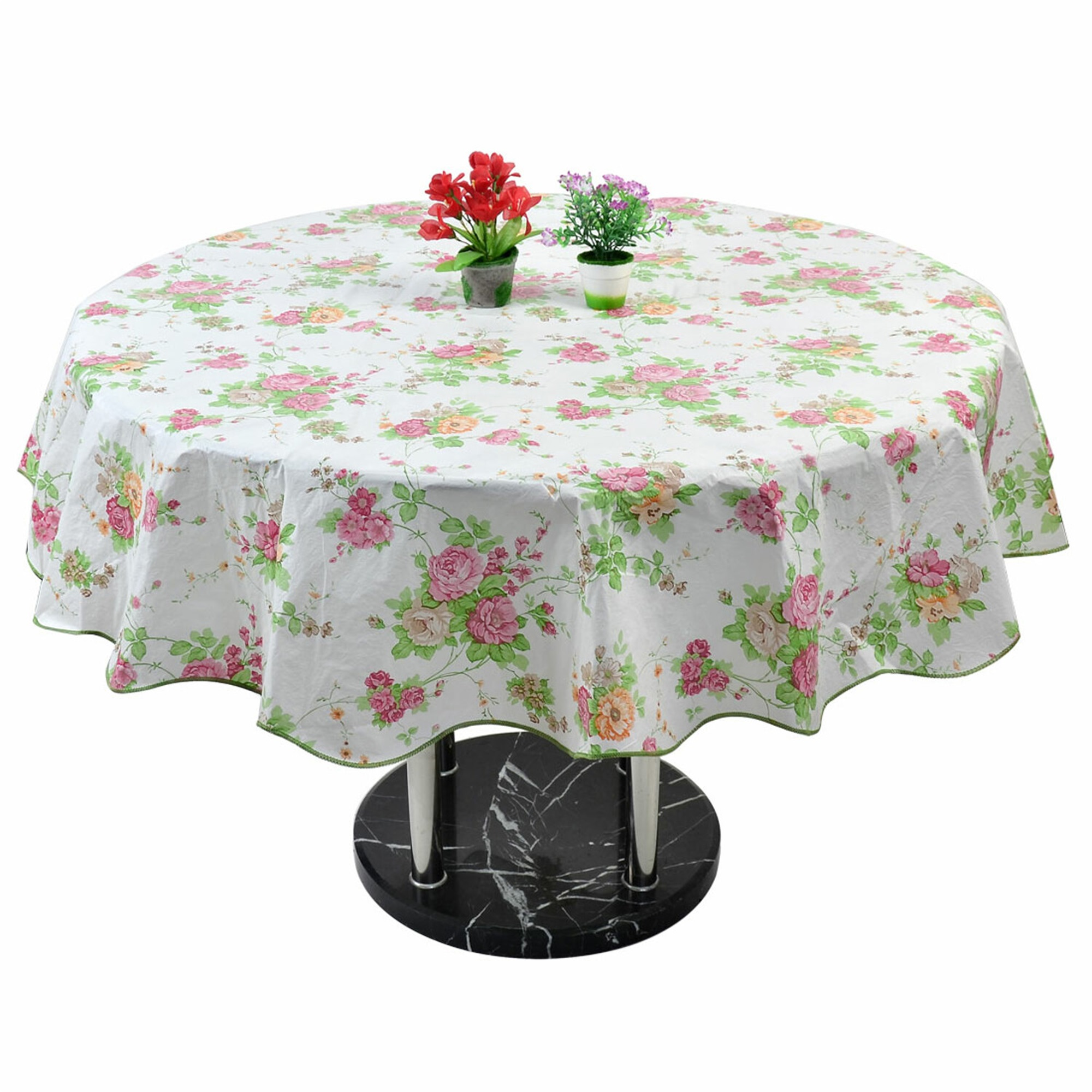 PVC Plastic Picnic Round Rose Pattern Water/Oil Resistant Tablecloth Pink 60""