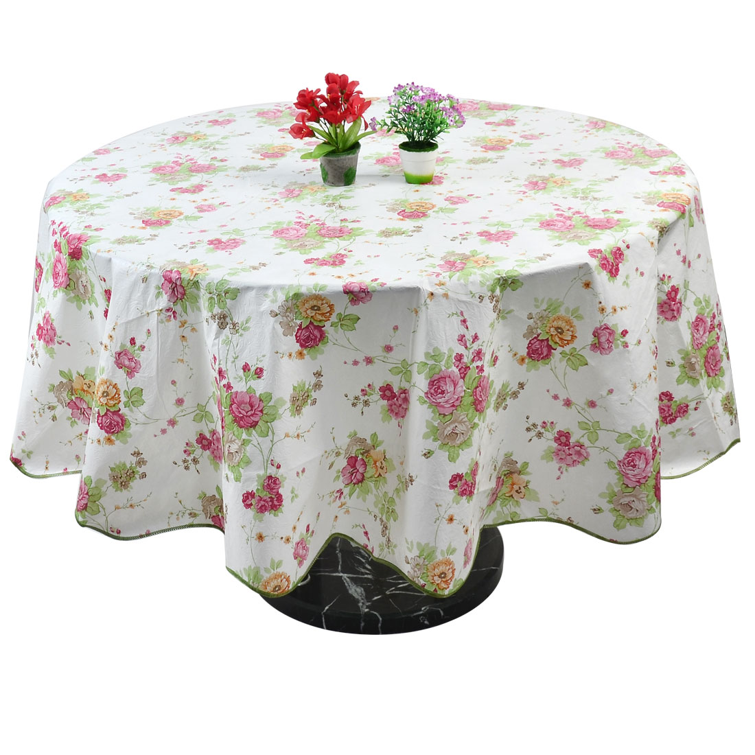 Home Rose Pattern Round Water Resistant Tablecloth Table Cloth Cover Pink