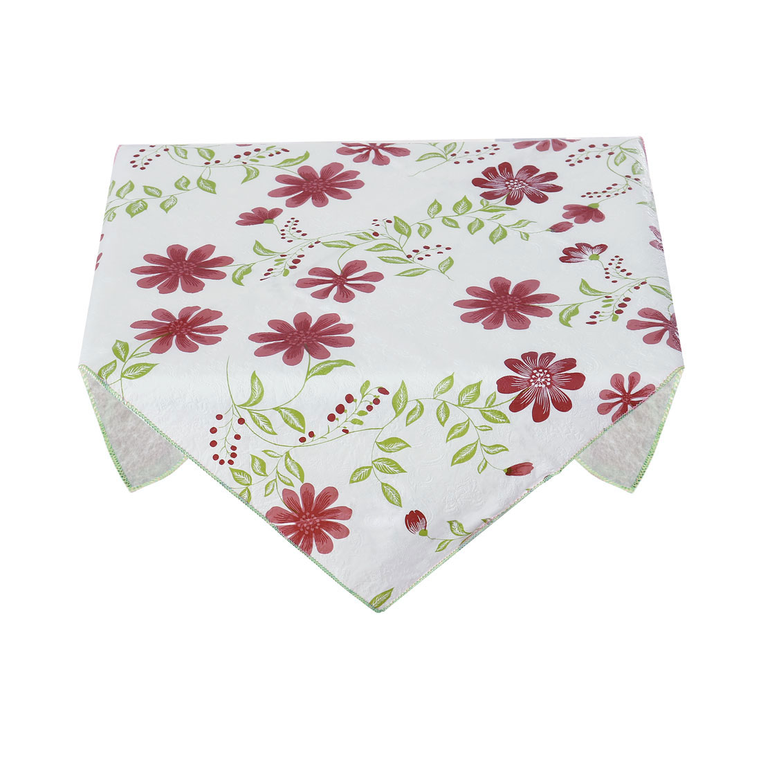 Home Picnic Square Nine-petals Flower Pattern Water Resistant Oil-proof Tablecloth Table Cloth Cover Red 35 x 35 Inch