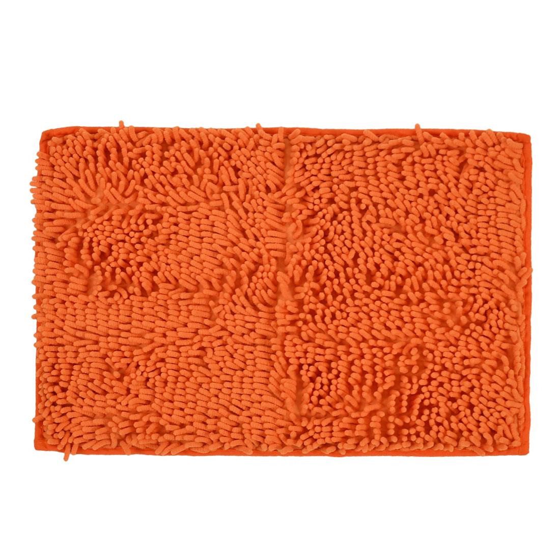 60cm x 40cm Orange Polyester Absorbent Slip-resistant Pad Bath Mat Shower Rug