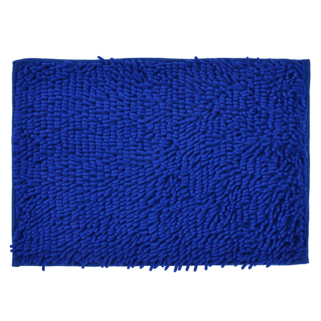 60cm x 40cm Dark Blue Polyester Absorbent Slip-resistant Pad Bath Mat Shower Rug