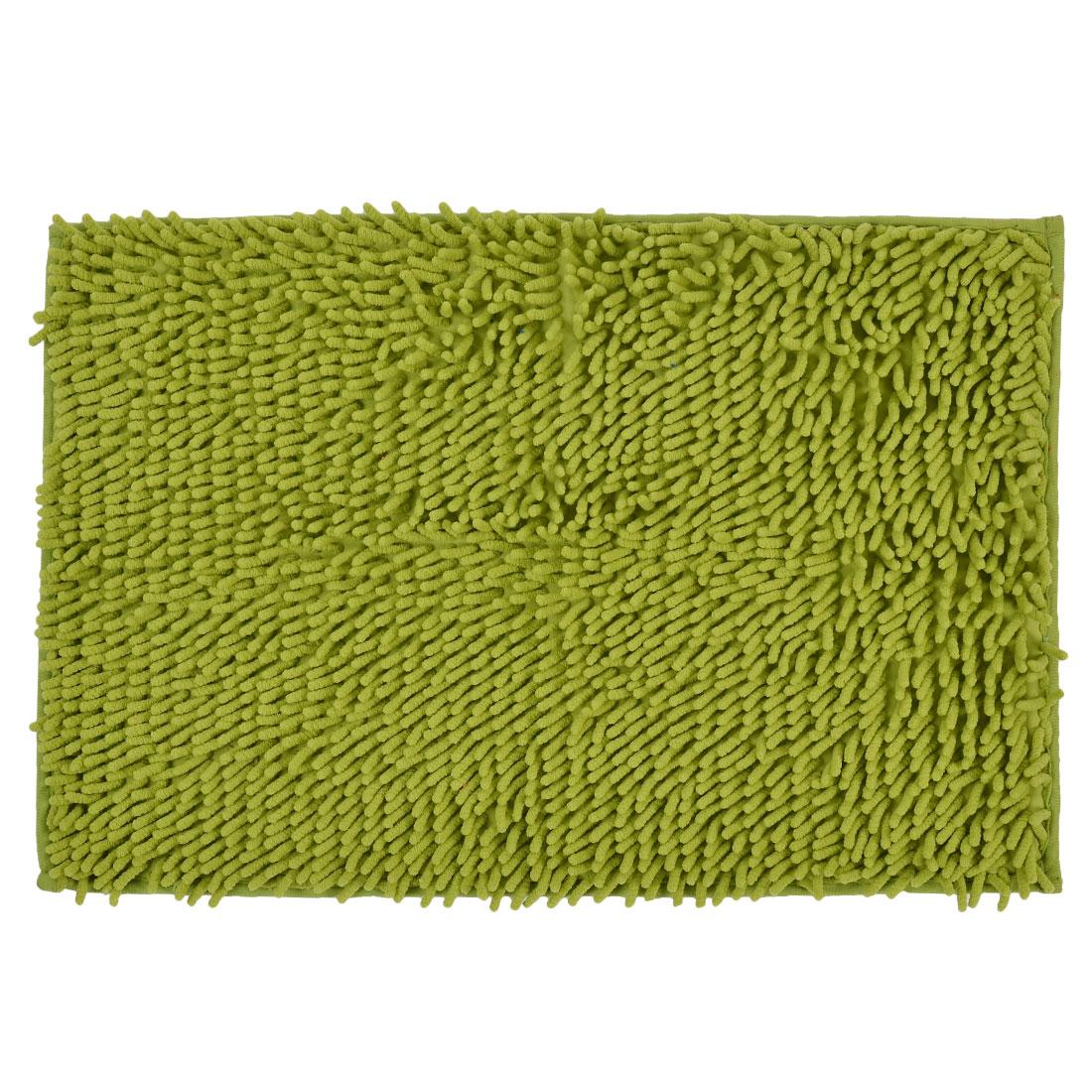 60cm x 40cm Olive Green Polyester Absorbent Slip-resistant Pad Bath Mat Shower Rug