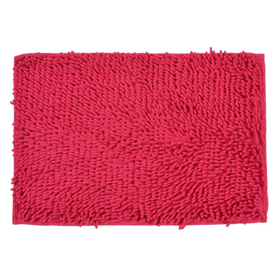 60cm x 40cm Fuchsia Polyester Absorbent Slip-resistant Pad Bath Mat Shower Rug