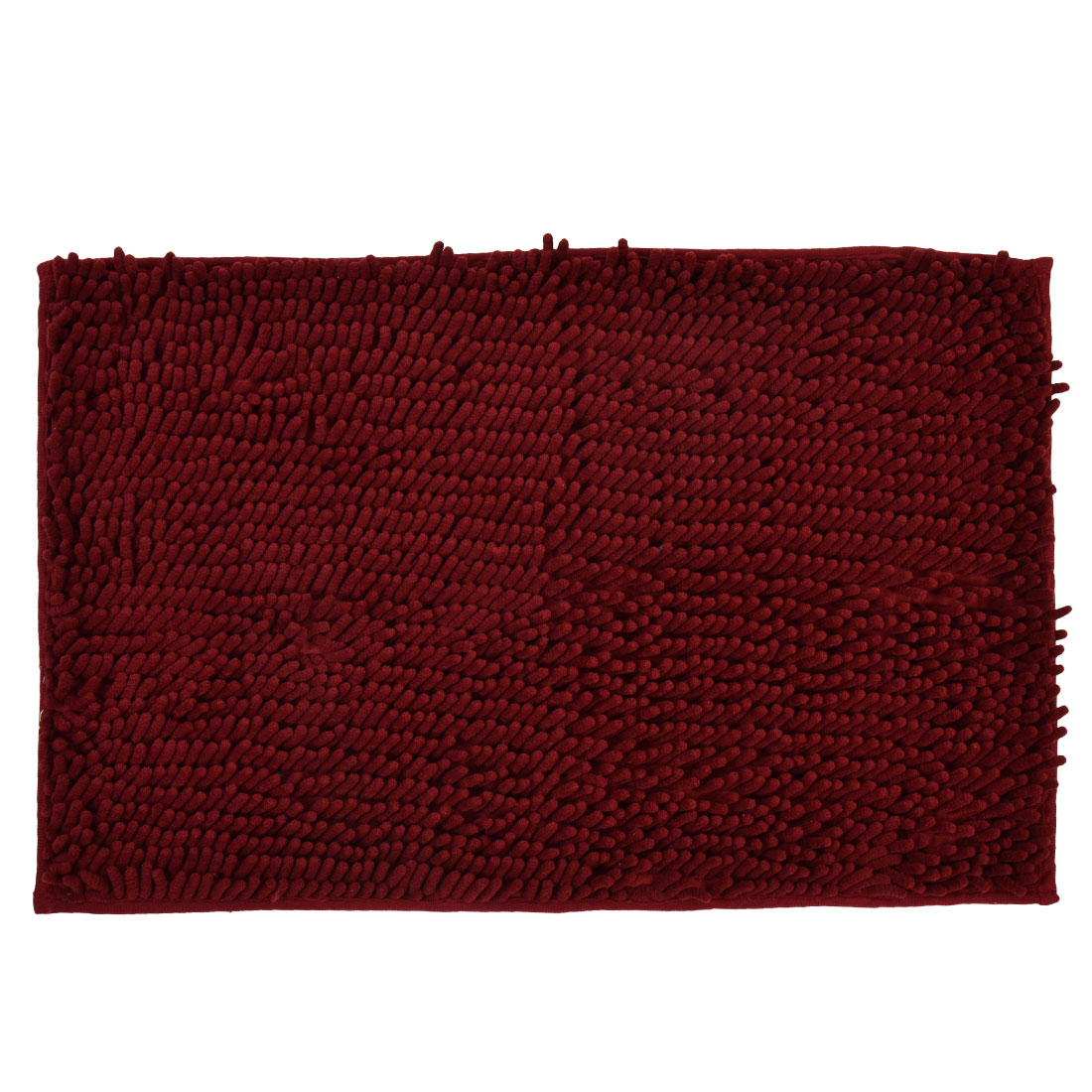 60cm x 40cm Wine Red Polyester Rectangle Absorbent Non-slip Pad Bath Mat Shower Rug