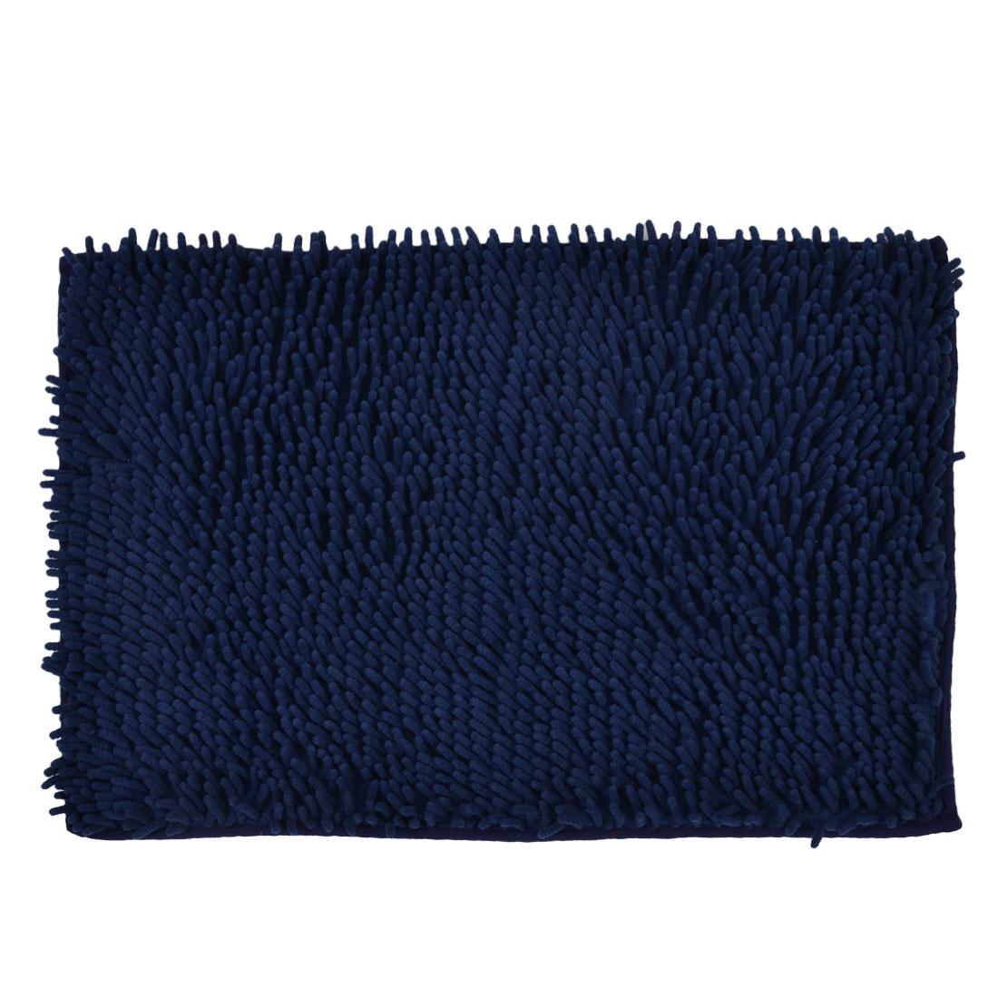 60cm x 40cm Dark Blue Polyester Rectangle Absorbent Non-slip Pad Bath Mat Shower Rug
