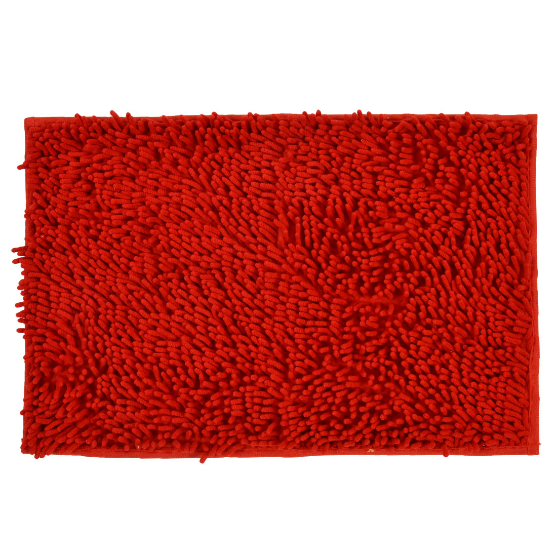60cm x 40cm Red Polyester Rectangle Absorbent Slip-resistant Pad Bath Shower Rug