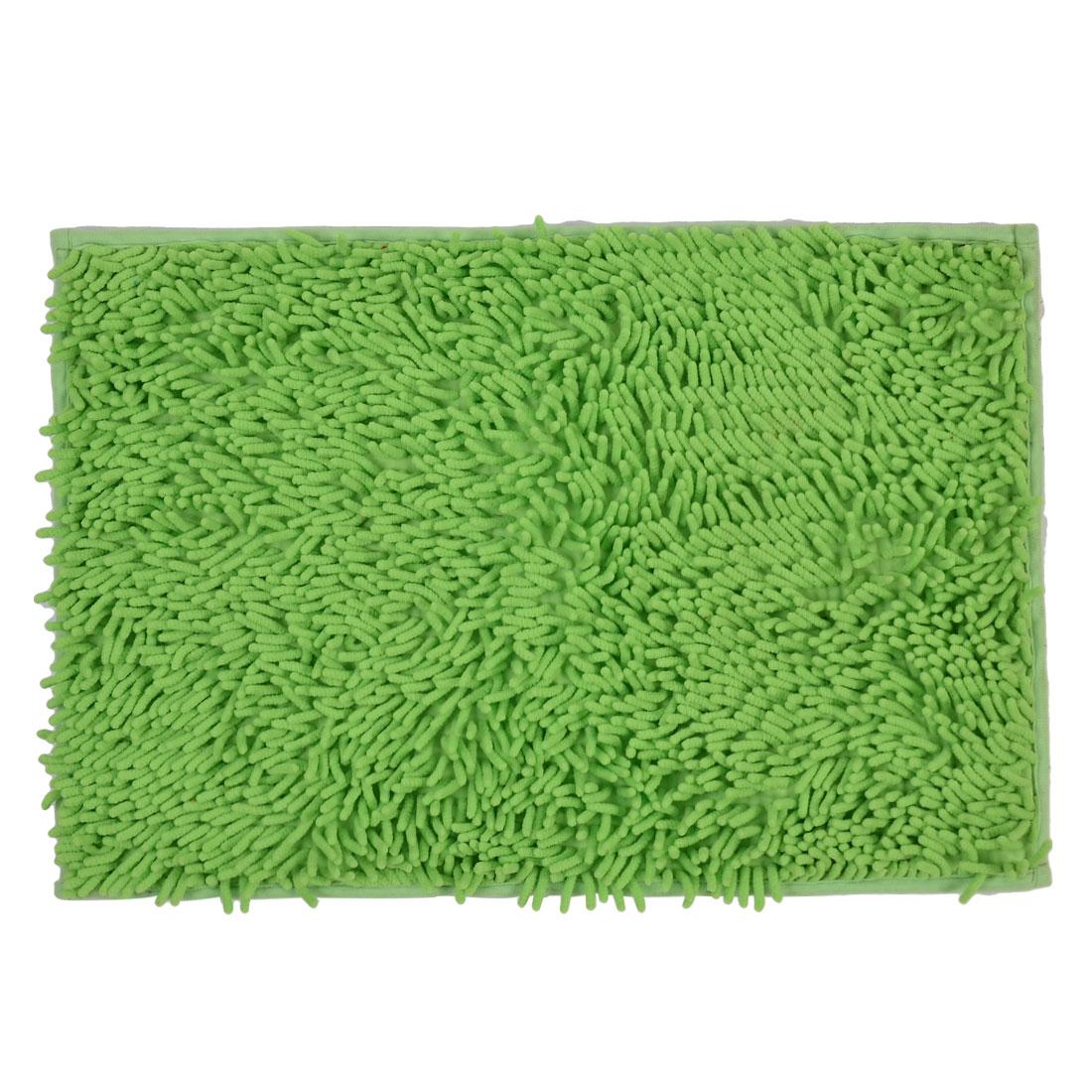 60cm x 40cm Light Green Polyester Absorbent Non-slip Pad Bath Mat Shower Rug