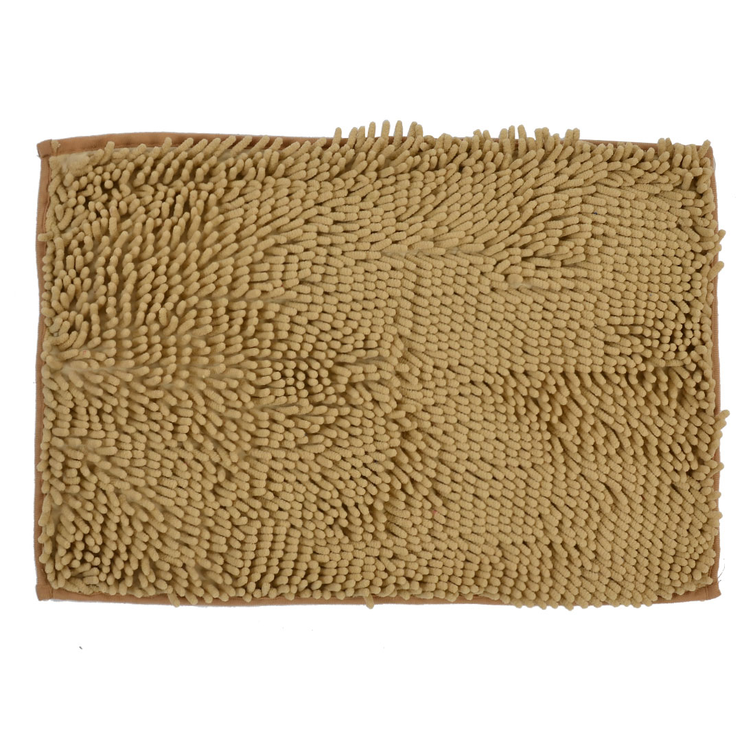 60cm x 40cm Beige Polyester Rectangle Absorbent Non-slip Pad Bath Mat Shower Rug