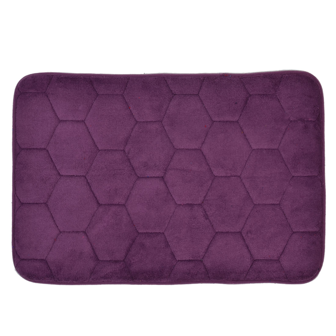 59cm x 40cm Purple Polyester Hexagon Pattern Absorbent Slip-resistant Shower Rug