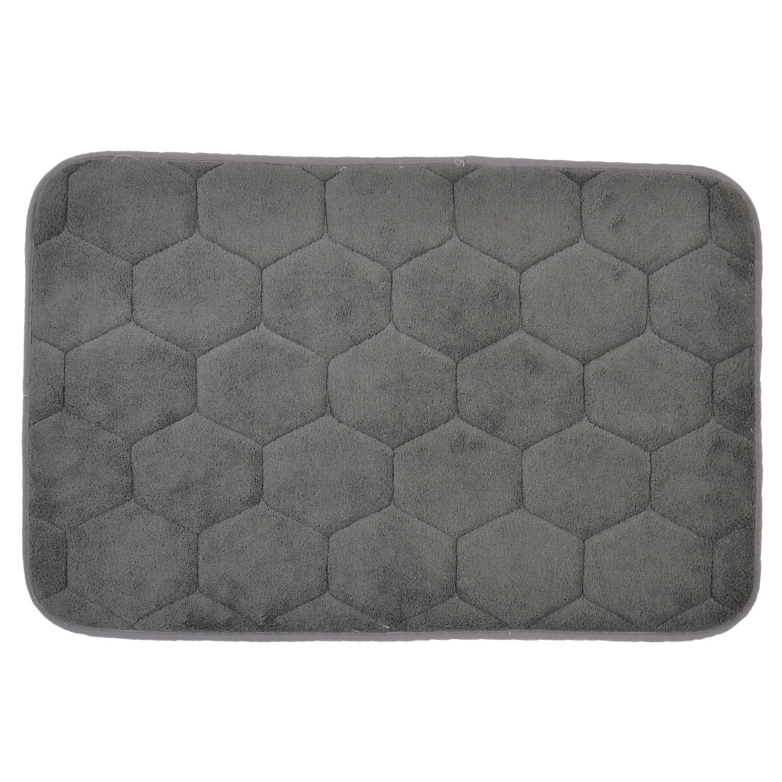 59cm x 40cm Gray Polyester Hexagon Pattern Absorbent Slip-resistant Shower Rug