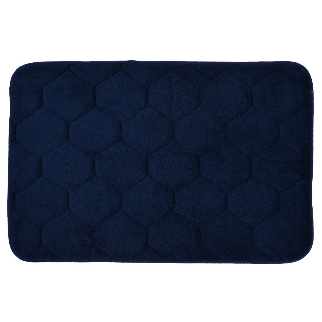 59cm x 40cm Dark Blue Polyester Hexagon Pattern Absorbent Slip-resistant Shower Rug