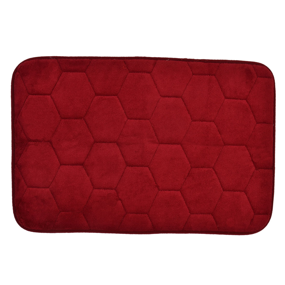 59cm x 40cm Wine Red Polyester Hexagon Pattern Absorbent Non-slip Shower Rug