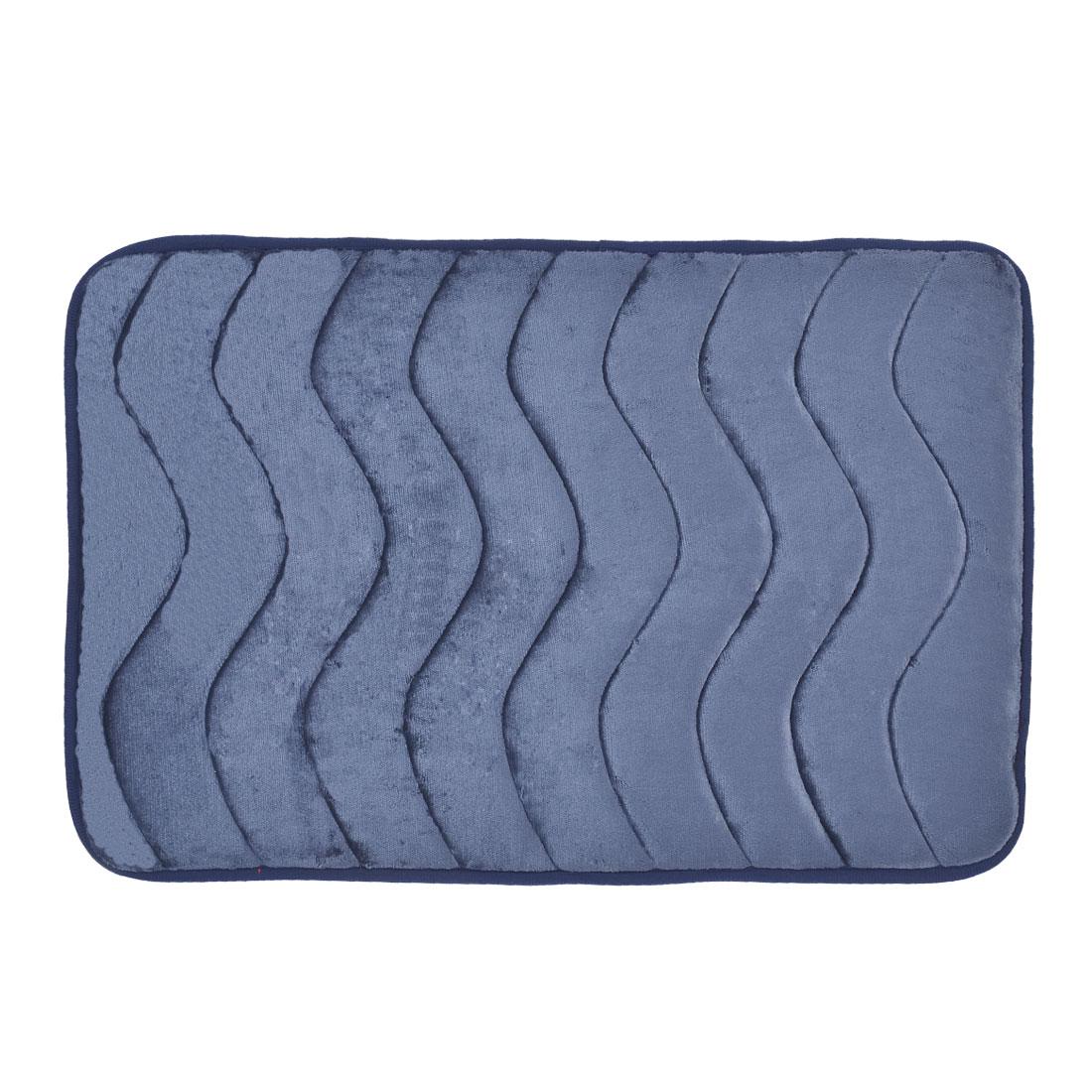 Bathroom Villus Surface Wavy Pattern Absorbent Slip-resistant Pad Shower Rug Dark Blue