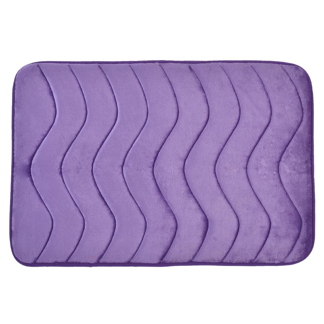 58cm x 40cm Light Purple Villus Surface Wavy Pattern Absorbent Non-slip Pad Shower Rug