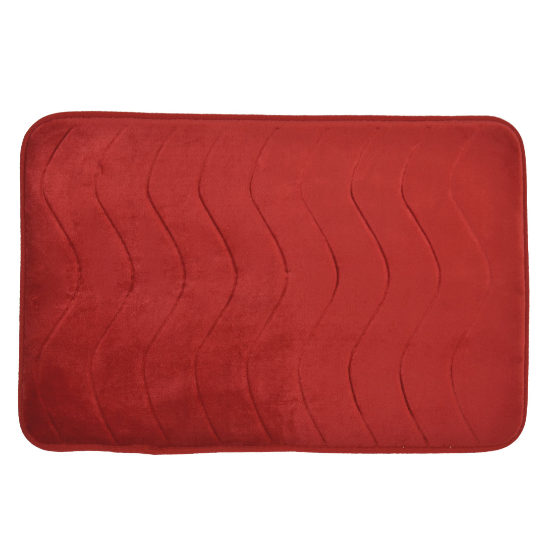 58cm x 40cm Red Villus Surface Wavy Pattern Absorbent Non-slip Pad Shower Rug