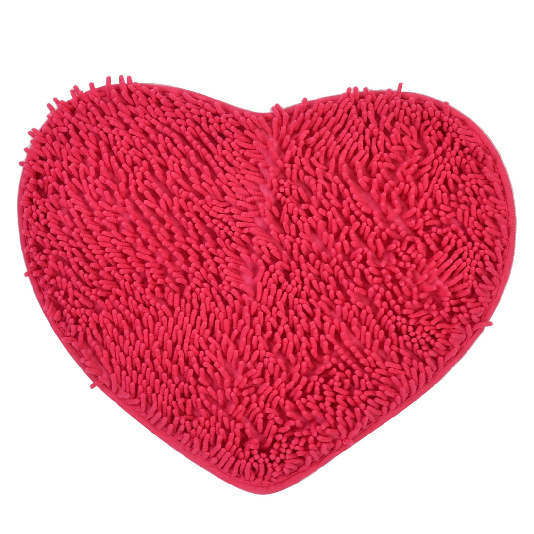 Bathroom Polyester Heart Shaped Absorbent Slip-resistant Pad Bath Shower Rug Fuchsia