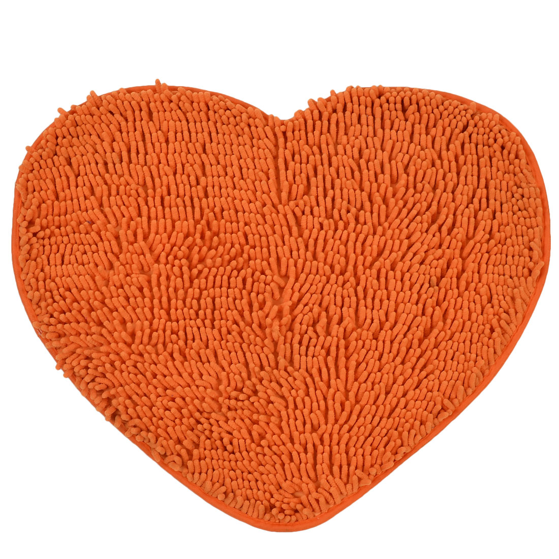 56cm x 45cm Orange Polyester Heart Shaped Absorbent Non-slip Pad Bath Shower Rug