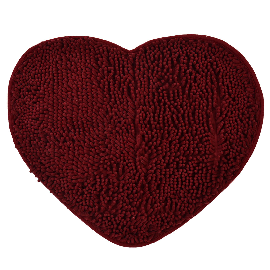 56cm x 45cm Wine Red Polyester Heart Shaped Absorbent Non-slip Pad Shower Rug