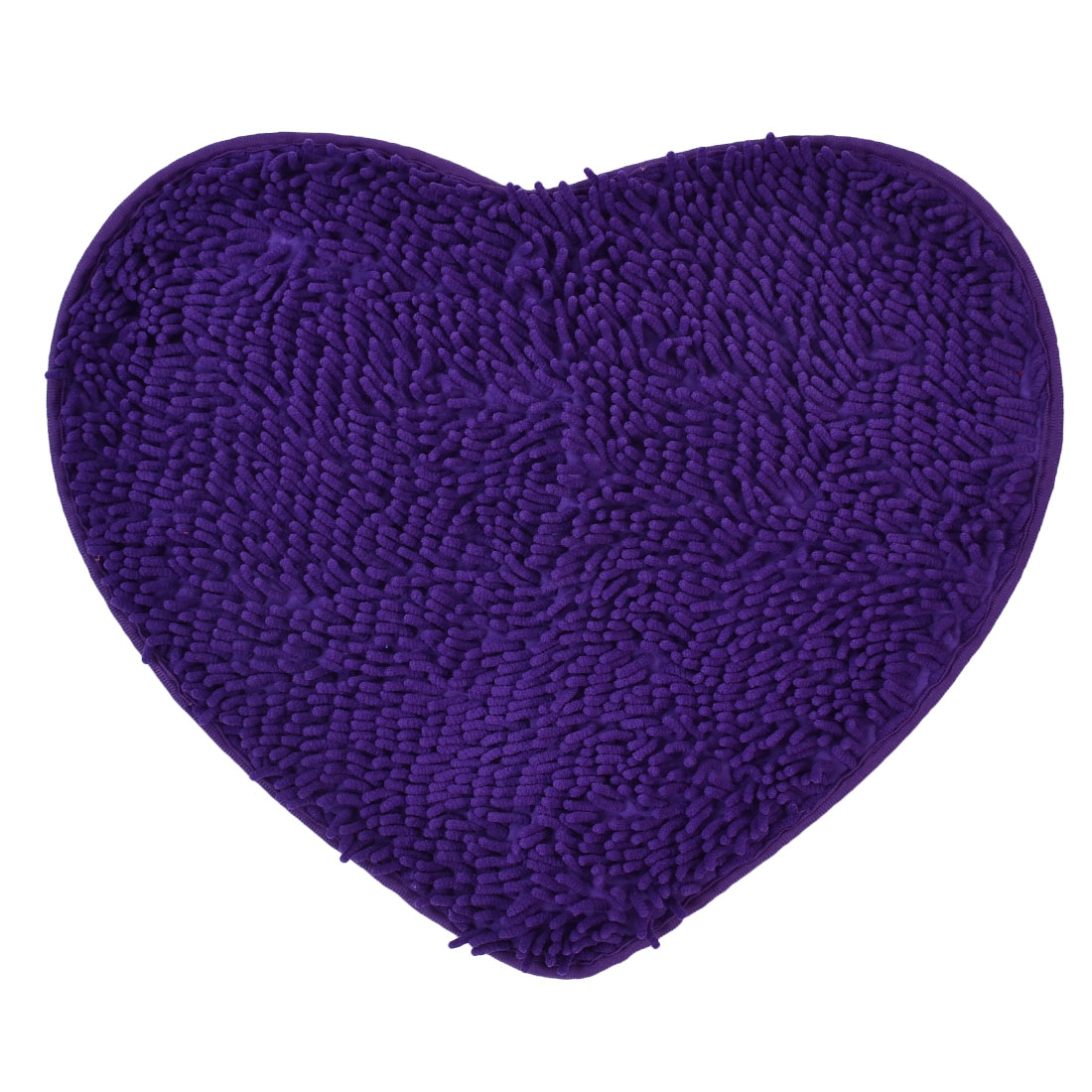 56cm x 45cm Purple Polyester Heart Shaped Absorbent Non-slip Pad Bath Shower Rug
