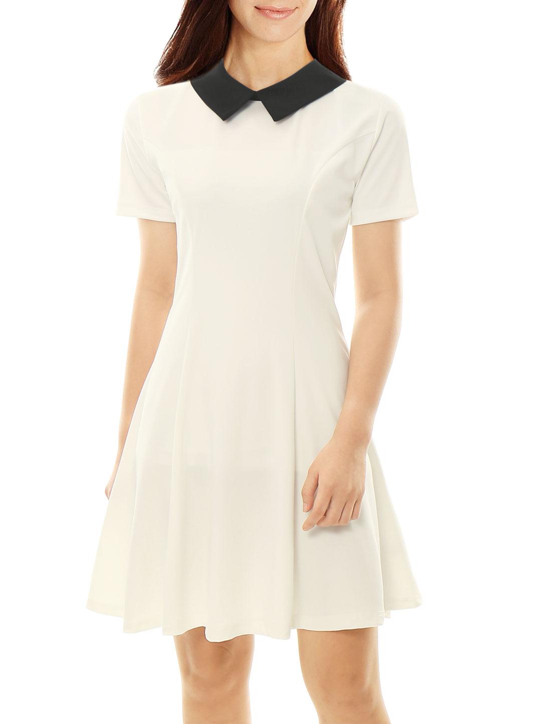 Women Contrast Doll Collar Short Sleeves Flare Dress White M
