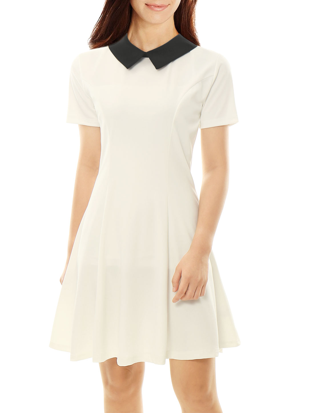 Women Contrast Doll Collar Short Sleeves Flare Dress White L
