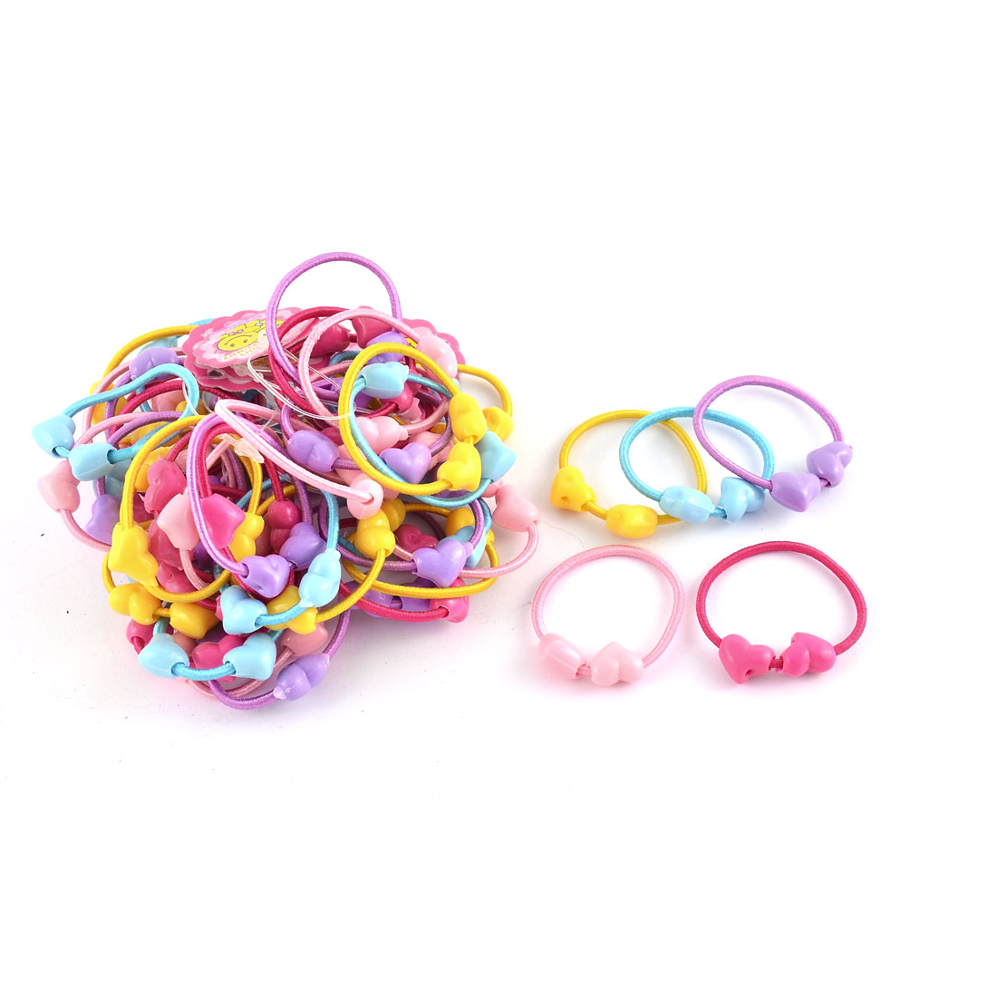 Girl Elastic Fabric Heart Decor Ponytail Holder Scrunchie Hairbands Assorted Color 50pcs