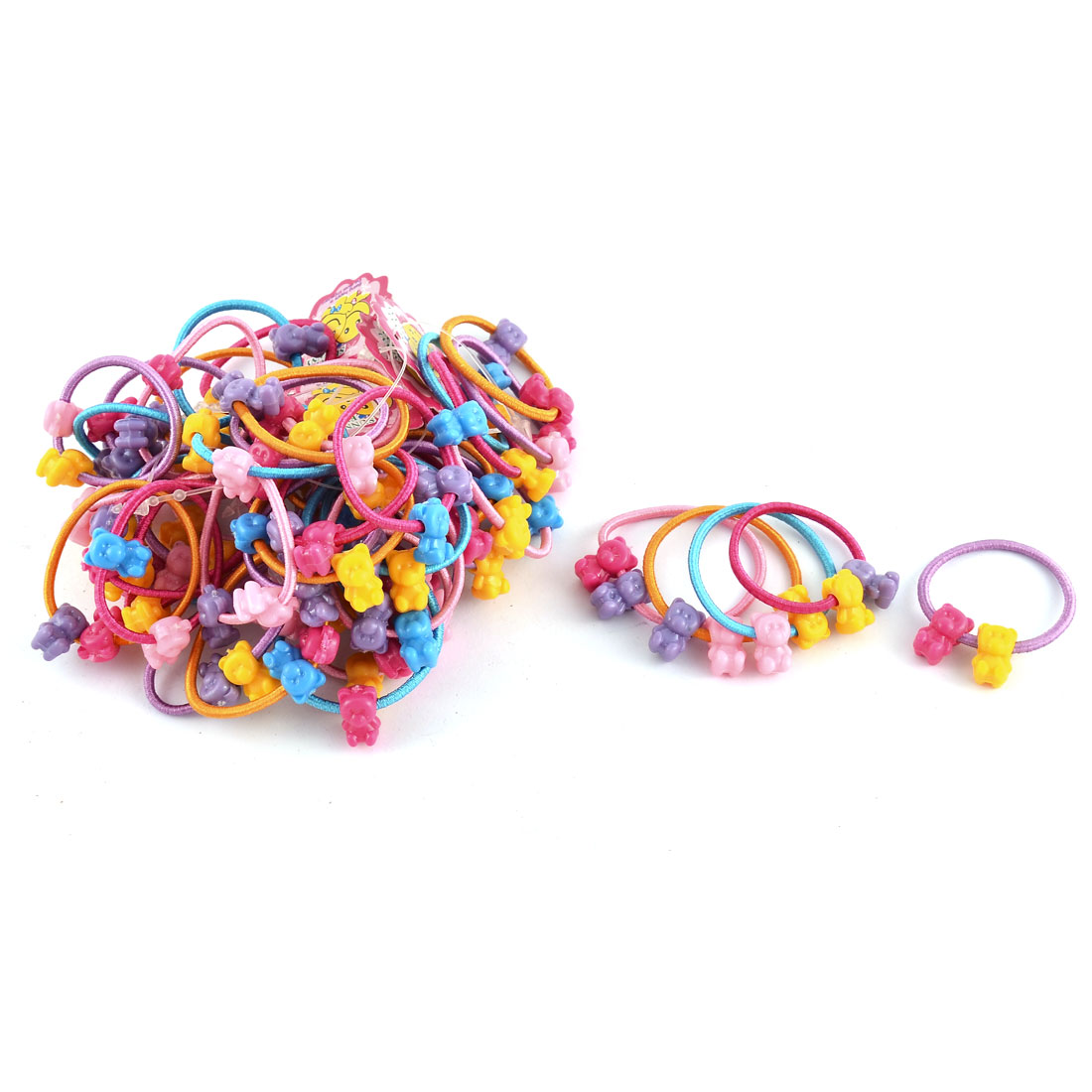 Girl Elastic Fabric Little Bear Decor Ponytail Holder Scrunchie Hairbands Assorted Color 50pcs