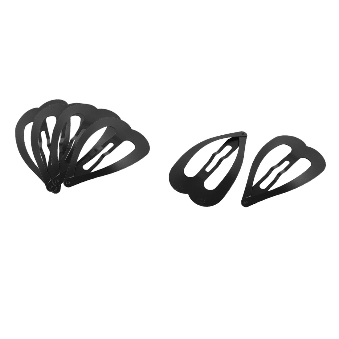 Home Lady Heart Shaped Hairdressing Hairstyle Bendy Snap Hair Clips Hairpins Black 6pcs