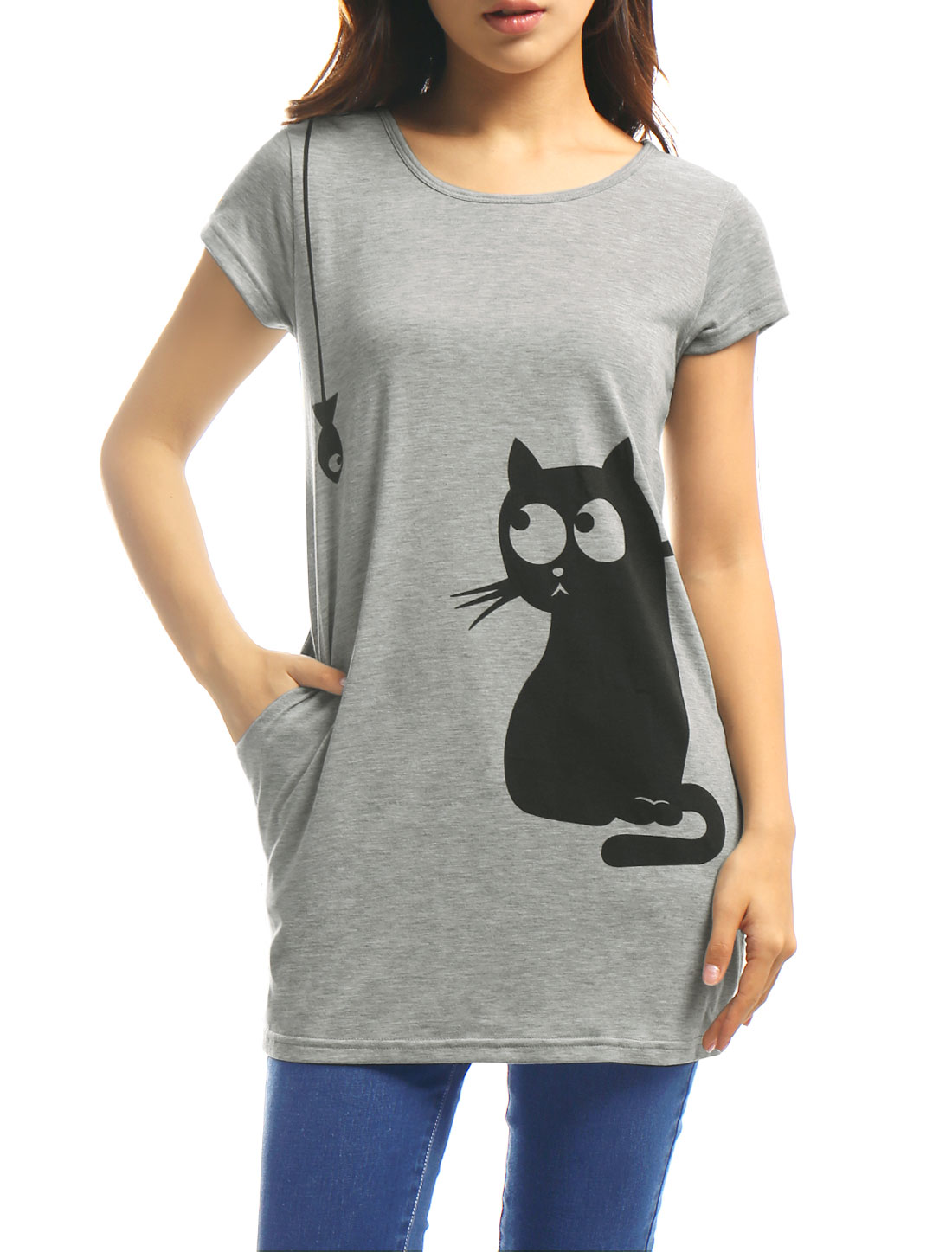 Women Round Neck Short Sleeve Cat Prints Loose Tunic Top Gray XS