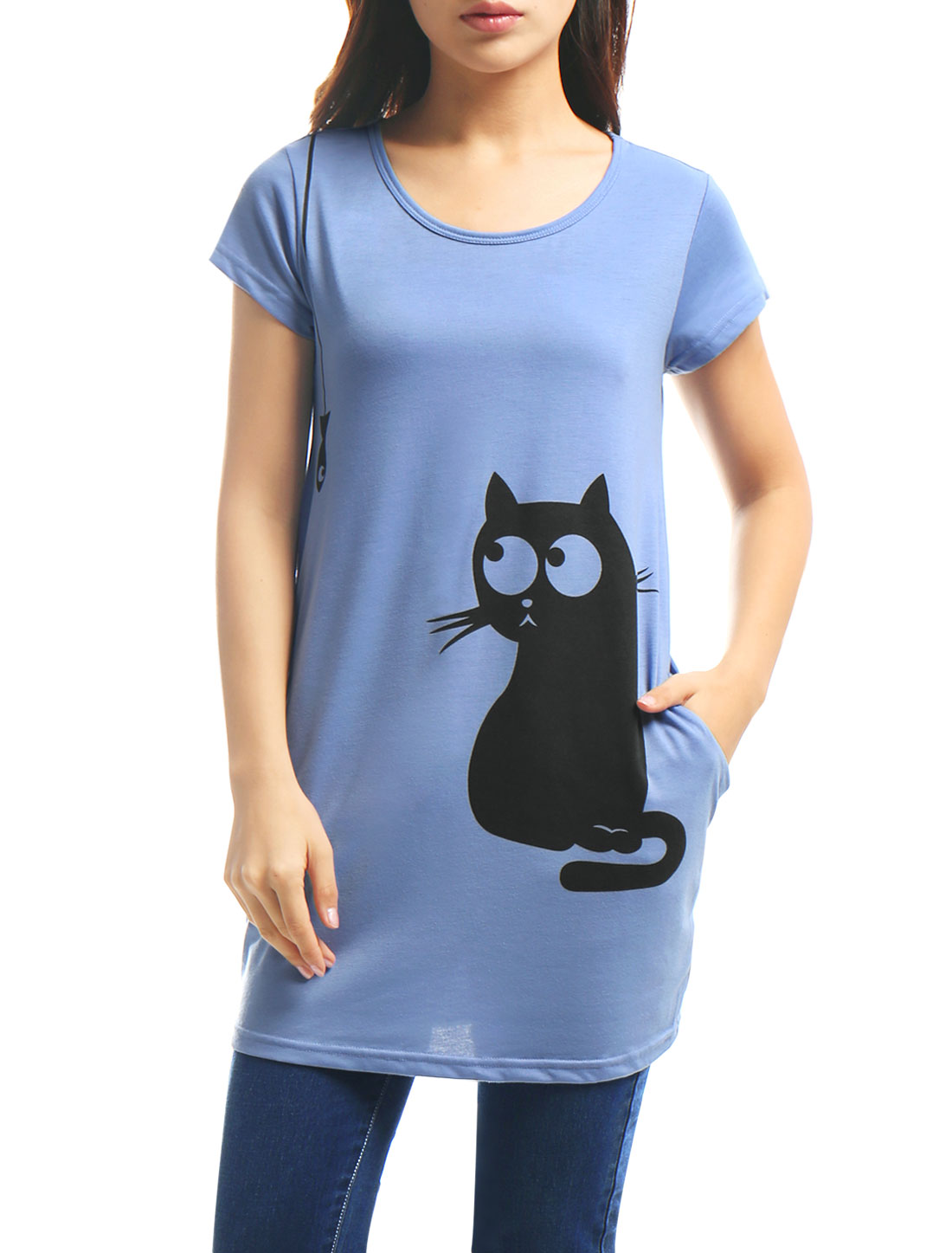 Women Round Neck Short Sleeve Cat Prints Loose Tunic Top Blue XS