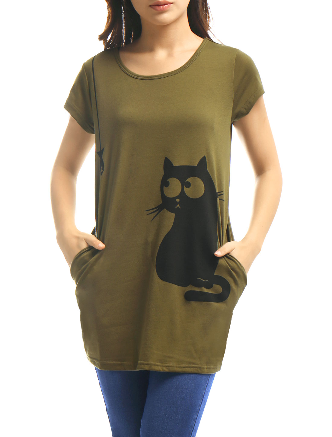 Women Round Neck Short Sleeve Cat Prints Loose Tunic Top Green L
