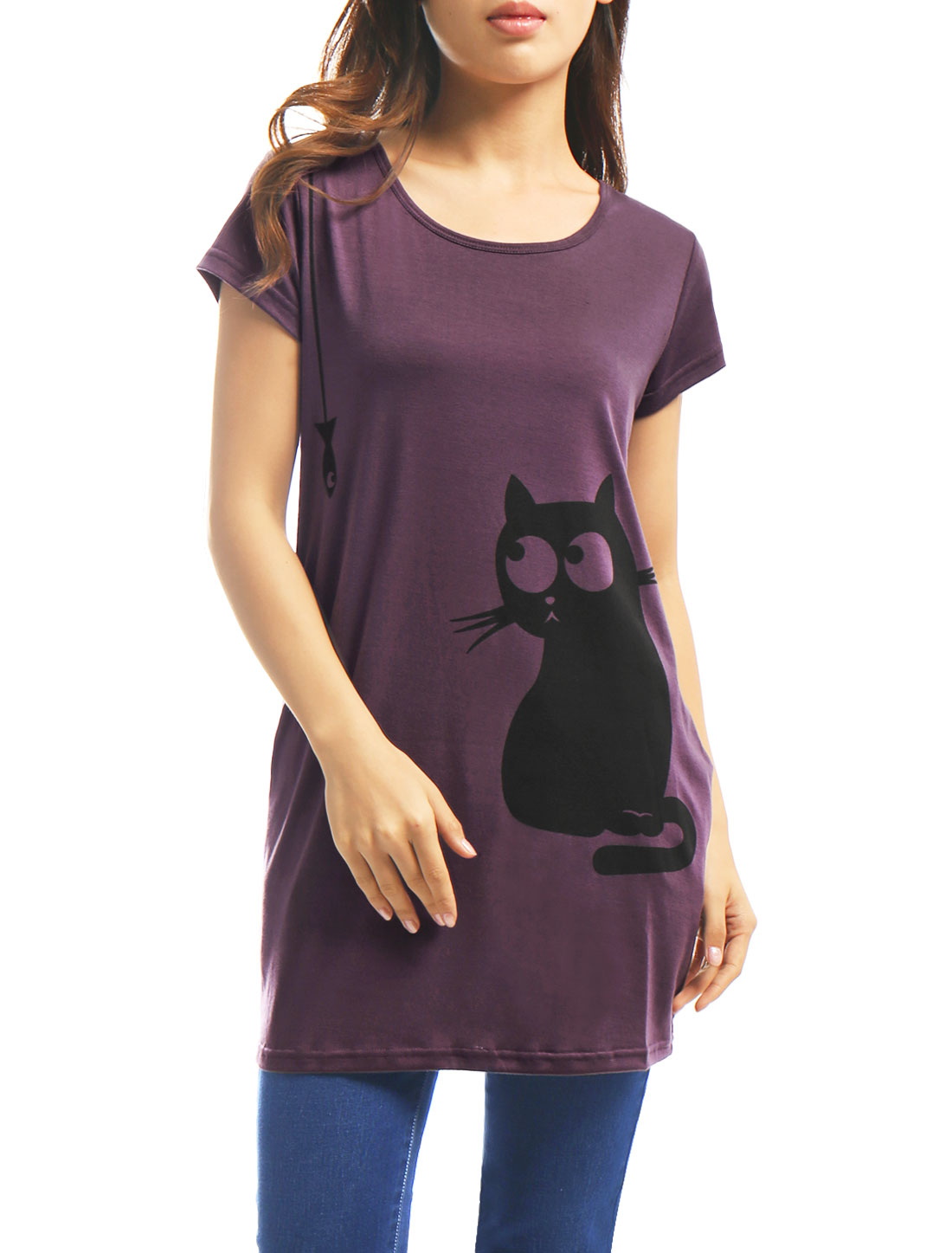 Women Round Neck Short Sleeve Cat Prints Loose Tunic Top Purple M