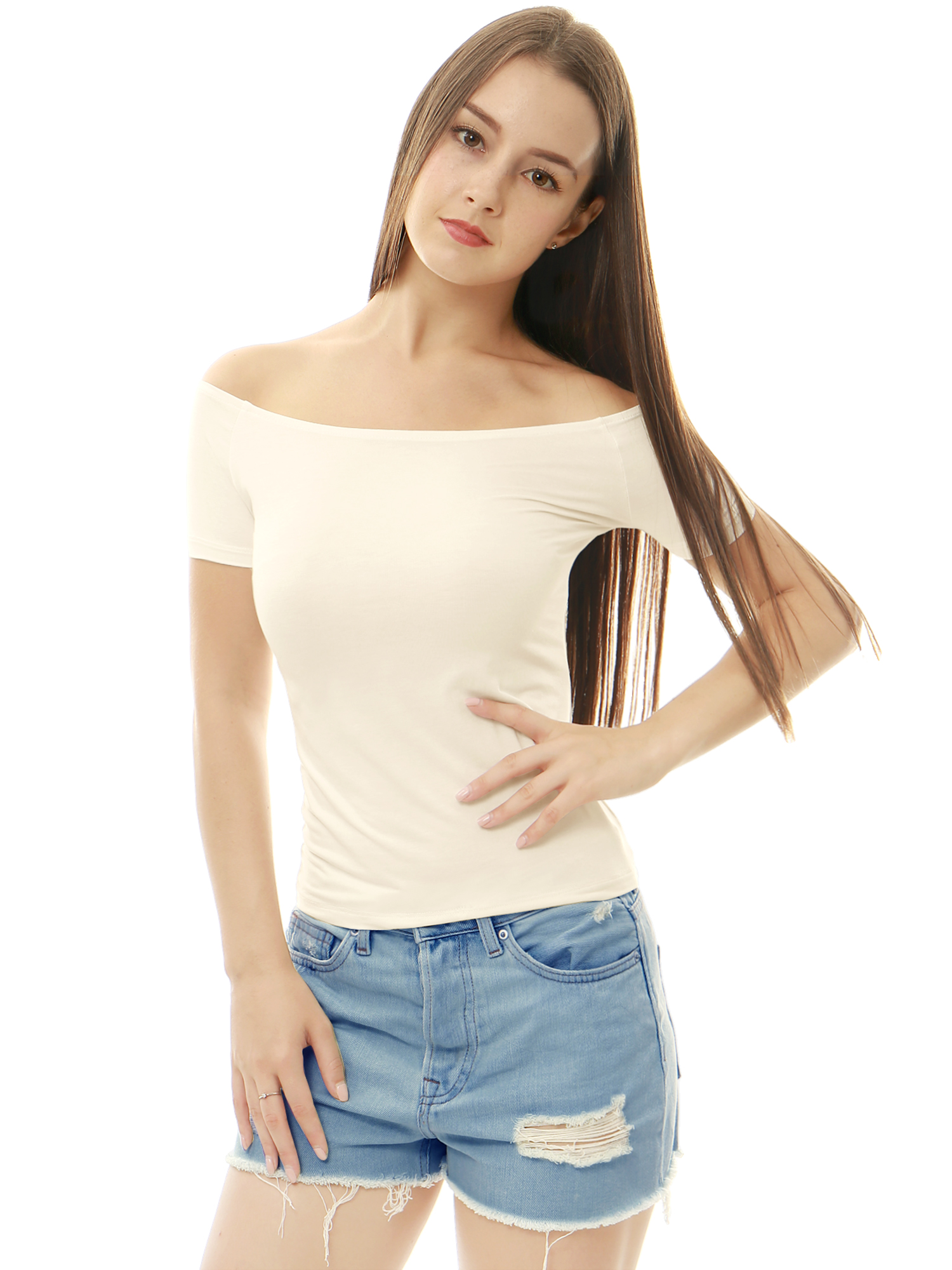Women Short Sleeves Slim Fit Off the Shoulder Top White XL