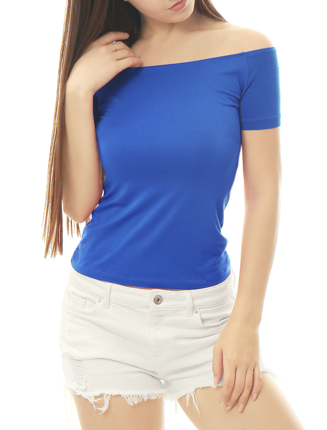 Women Short Sleeves Slim Fit Off the Shoulder Top Royal Blue L