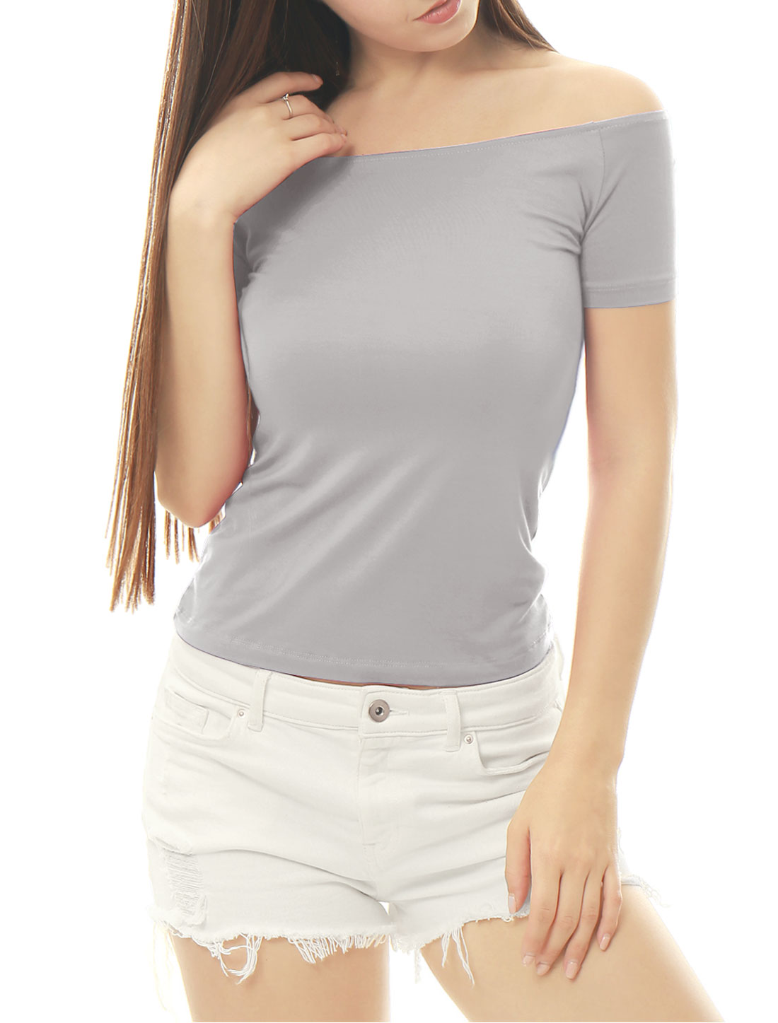 Women Short Sleeves Slim Fit Off the Shoulder Top Gray XS