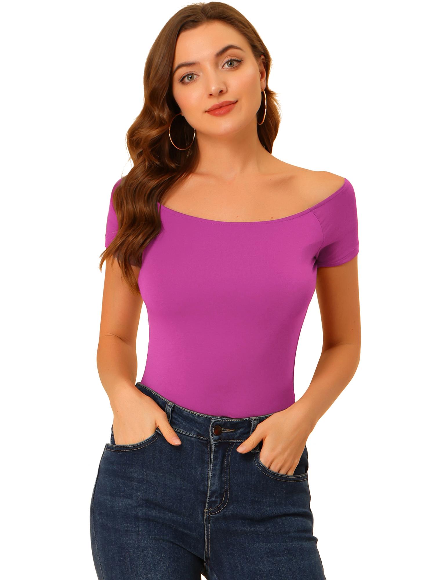 Women Short Sleeves Slim Fit Off the Shoulder Top Violet M